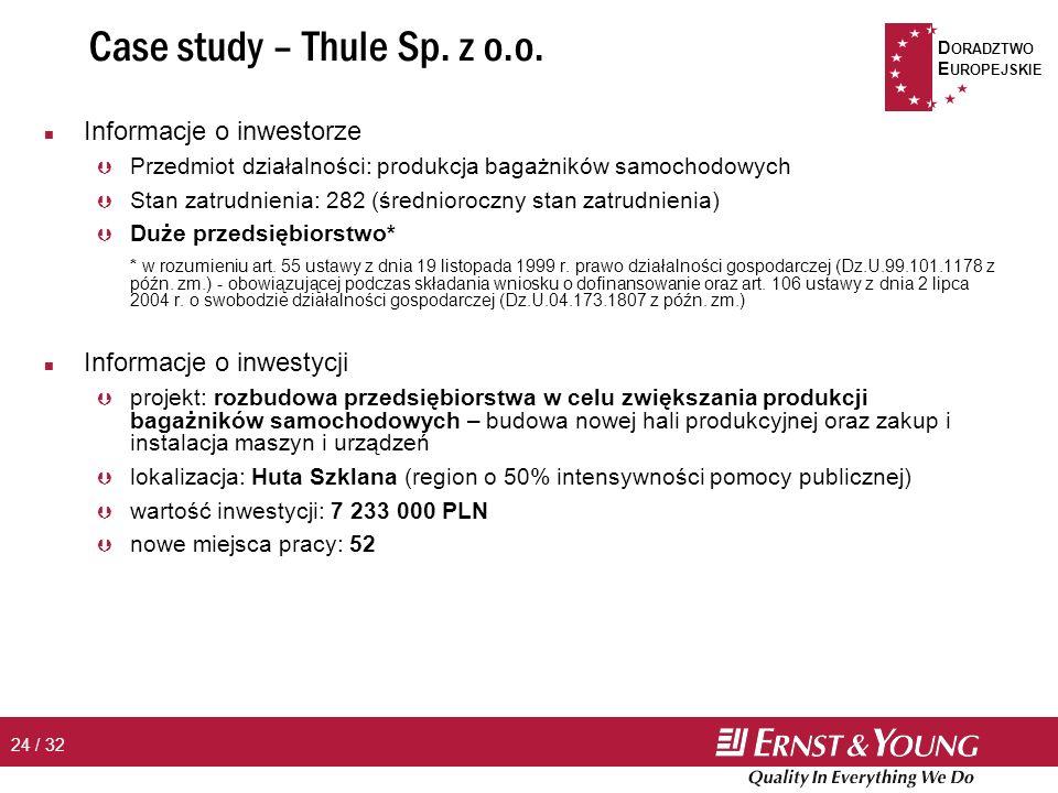 D ORADZTWO E UROPEJSKIE 24 / 32 Case study – Thule Sp.