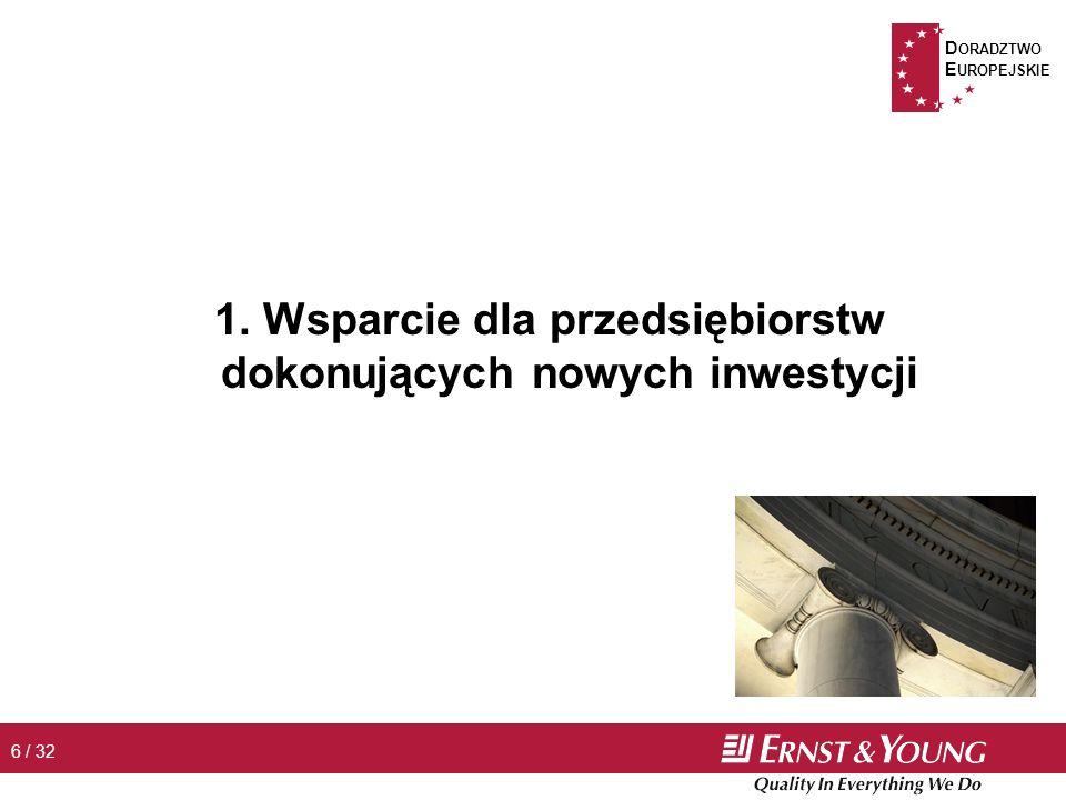 D ORADZTWO E UROPEJSKIE 7 / 32 Wsparcie dla przedsiębiorstw dokonujących nowych inwestycji n Przykładowe obszary wsparcia Þ nowe inwestycje rozumiane jako u utworzenie lub rozbudowa przedsiębiorstwa u rozpoczęcie w przedsiębiorstwie działań obejmujących dokonywanie zasadniczych zmian produkcji bądź procesu produkcyjnego, zmian wyrobu lub usługi, w tym także zmian w zakresie sposobu świadczenia usług n Maks.