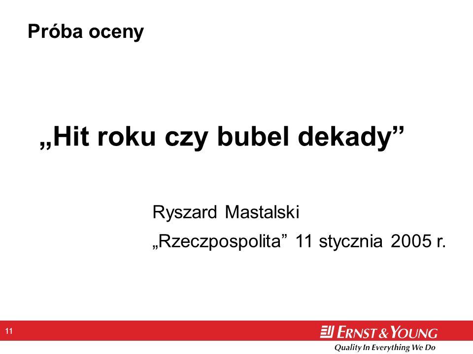 11 Hit roku czy bubel dekady Ryszard Mastalski Rzeczpospolita 11 stycznia 2005 r. Próba oceny