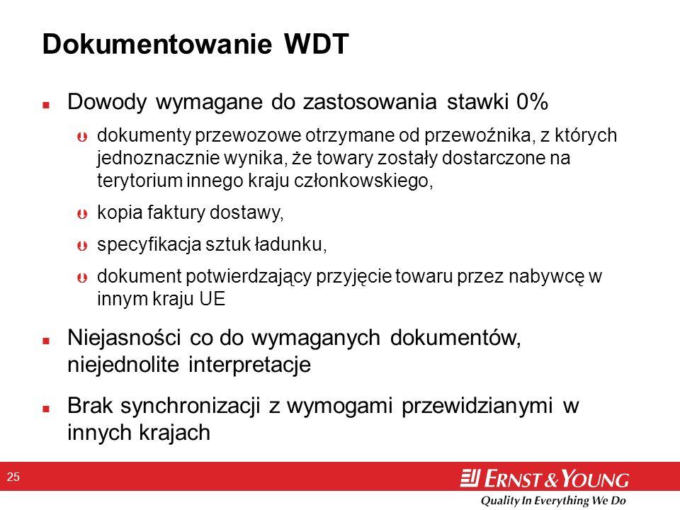 25 Dokumentowanie WDT n Dowody wymagane do zastosowania stawki 0% Þ dokumenty przewozowe otrzymane od przewoźnika, z których jednoznacznie wynika, że