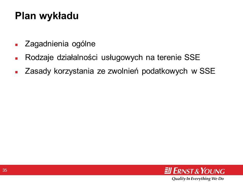 35 n Zagadnienia ogólne n Rodzaje działalności usługowych na terenie SSE n Zasady korzystania ze zwolnień podatkowych w SSE Plan wykładu