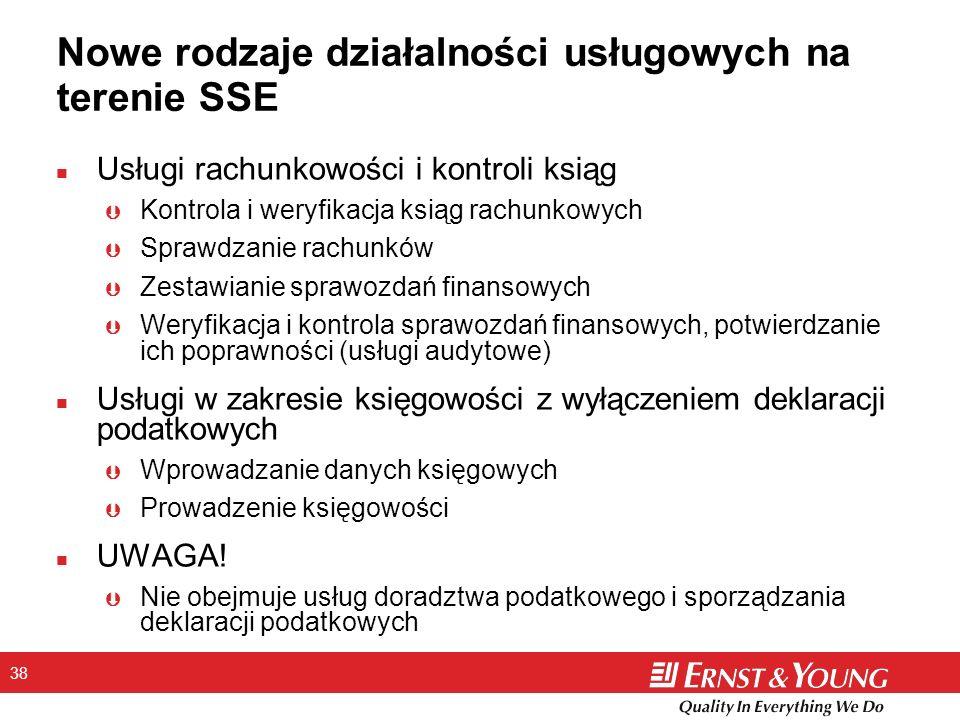 38 Nowe rodzaje działalności usługowych na terenie SSE n Usługi rachunkowości i kontroli ksiąg Þ Kontrola i weryfikacja ksiąg rachunkowych Þ Sprawdzanie rachunków Þ Zestawianie sprawozdań finansowych Þ Weryfikacja i kontrola sprawozdań finansowych, potwierdzanie ich poprawności (usługi audytowe) n Usługi w zakresie księgowości z wyłączeniem deklaracji podatkowych Þ Wprowadzanie danych księgowych Þ Prowadzenie księgowości n UWAGA.