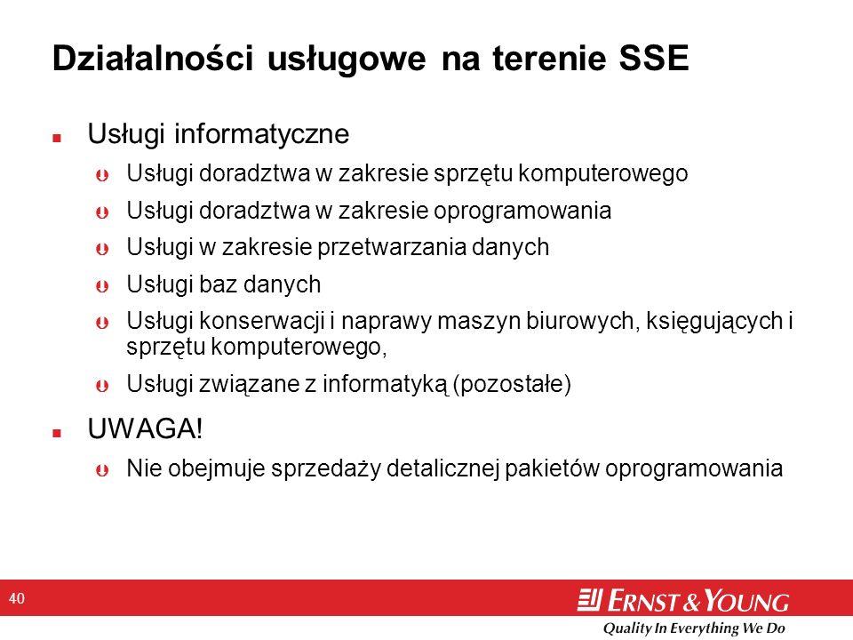 40 Działalności usługowe na terenie SSE n Usługi informatyczne Þ Usługi doradztwa w zakresie sprzętu komputerowego Þ Usługi doradztwa w zakresie oprog