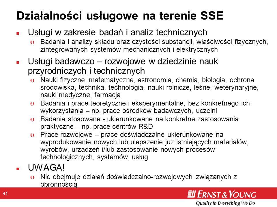 41 Działalności usługowe na terenie SSE n Usługi w zakresie badań i analiz technicznych Þ Badania i analizy składu oraz czystości substancji, właściwo