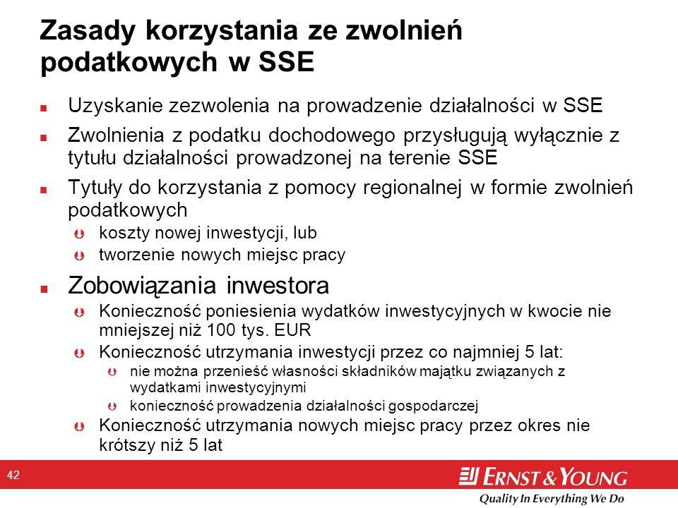 42 Zasady korzystania ze zwolnień podatkowych w SSE n Uzyskanie zezwolenia na prowadzenie działalności w SSE n Zwolnienia z podatku dochodowego przysługują wyłącznie z tytułu działalności prowadzonej na terenie SSE n Tytuły do korzystania z pomocy regionalnej w formie zwolnień podatkowych Þ koszty nowej inwestycji, lub Þ tworzenie nowych miejsc pracy n Zobowiązania inwestora Þ Konieczność poniesienia wydatków inwestycyjnych w kwocie nie mniejszej niż 100 tys.