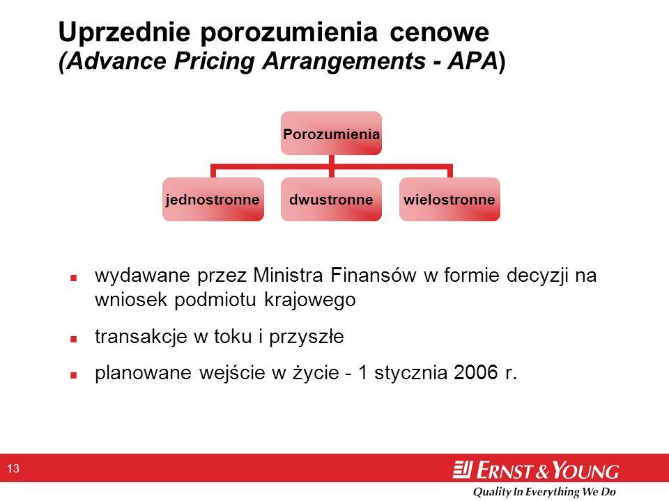 13 Uprzednie porozumienia cenowe (Advance Pricing Arrangements - APA) Porozumienia jednostronnedwustronnewielostronne n wydawane przez Ministra Finansów w formie decyzji na wniosek podmiotu krajowego n transakcje w toku i przyszłe n planowane wejście w życie - 1 stycznia 2006 r.