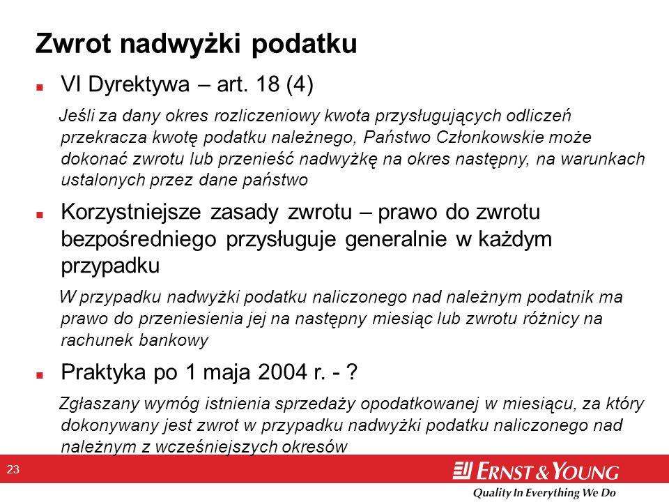 23 Zwrot nadwyżki podatku n VI Dyrektywa – art.