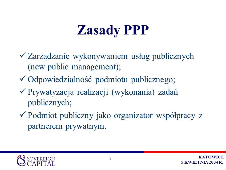 KATOWICE 5 KWIETNIA 2004 R. 3 Zasady PPP Zarządzanie wykonywaniem usług publicznych (new public management); Odpowiedzialność podmiotu publicznego; Pr
