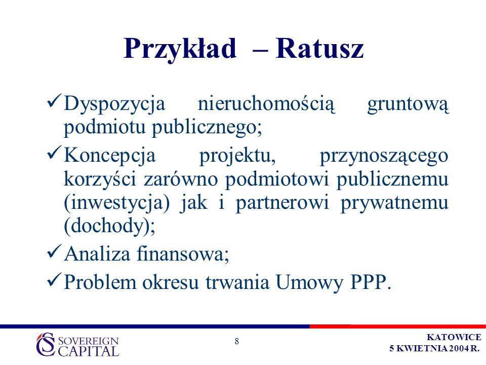 KATOWICE 5 KWIETNIA 2004 R. 8 Przykład – Ratusz Dyspozycja nieruchomością gruntową podmiotu publicznego; Koncepcja projektu, przynoszącego korzyści za