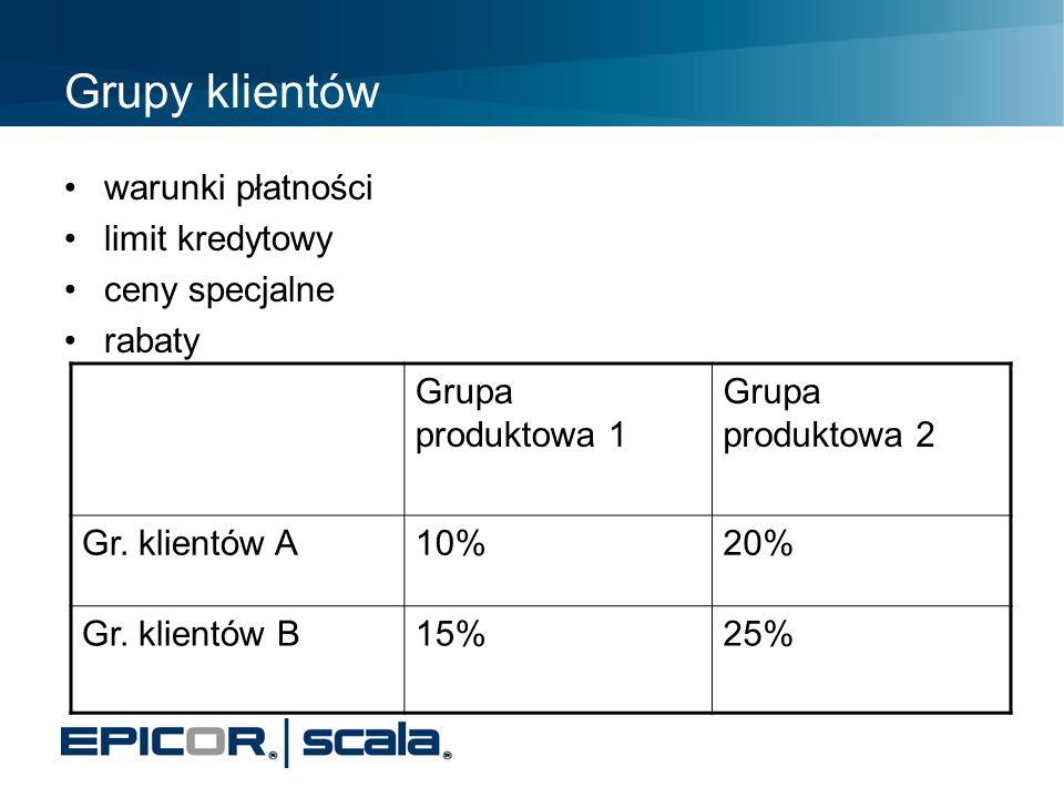 Grupy klientów warunki płatności limit kredytowy ceny specjalne rabaty Grupa produktowa 1 Grupa produktowa 2 Gr. klientów A10%20% Gr. klientów B15%25%