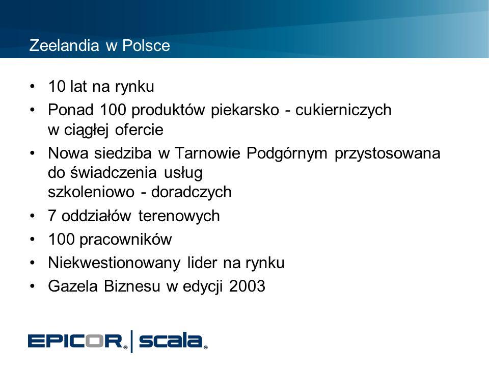 Zeelandia w Polsce 10 lat na rynku Ponad 100 produktów piekarsko - cukierniczych w ciągłej ofercie Nowa siedziba w Tarnowie Podgórnym przystosowana do