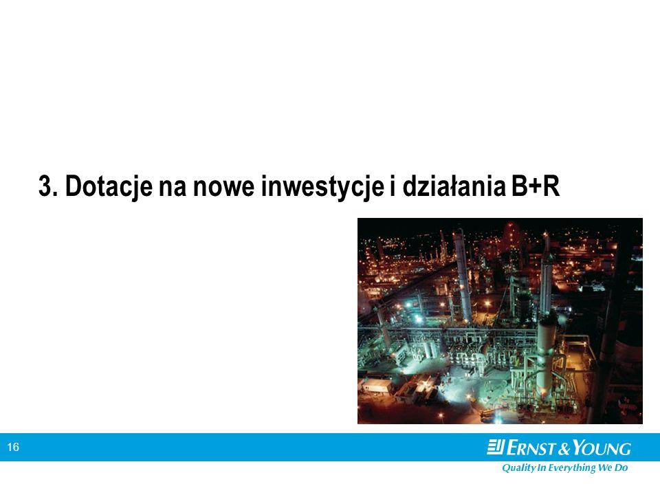16 3. Dotacje na nowe inwestycje i działania B+R