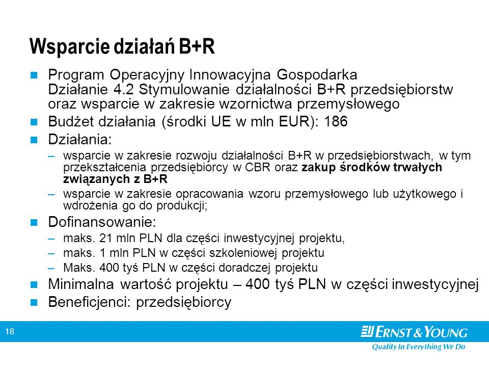18 Wsparcie działań B+R Program Operacyjny Innowacyjna Gospodarka Działanie 4.2 Stymulowanie działalności B+R przedsiębiorstw oraz wsparcie w zakresie wzornictwa przemysłowego Budżet działania (środki UE w mln EUR): 186 Działania: –wsparcie w zakresie rozwoju działalności B+R w przedsiębiorstwach, w tym przekształcenia przedsiębiorcy w CBR oraz zakup środków trwałych związanych z B+R –wsparcie w zakresie opracowania wzoru przemysłowego lub użytkowego i wdrożenia go do produkcji; Dofinansowanie: –maks.