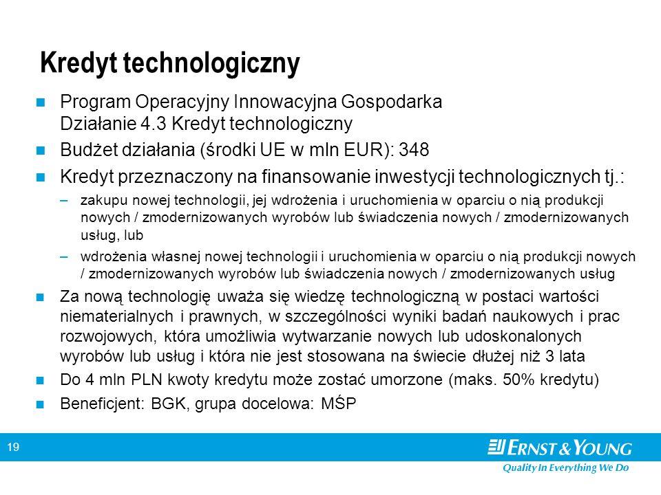 19 Kredyt technologiczny Program Operacyjny Innowacyjna Gospodarka Działanie 4.3 Kredyt technologiczny Budżet działania (środki UE w mln EUR): 348 Kredyt przeznaczony na finansowanie inwestycji technologicznych tj.: –zakupu nowej technologii, jej wdrożenia i uruchomienia w oparciu o nią produkcji nowych / zmodernizowanych wyrobów lub świadczenia nowych / zmodernizowanych usług, lub –wdrożenia własnej nowej technologii i uruchomienia w oparciu o nią produkcji nowych / zmodernizowanych wyrobów lub świadczenia nowych / zmodernizowanych usług Za nową technologię uważa się wiedzę technologiczną w postaci wartości niematerialnych i prawnych, w szczególności wyniki badań naukowych i prac rozwojowych, która umożliwia wytwarzanie nowych lub udoskonalonych wyrobów lub usług i która nie jest stosowana na świecie dłużej niż 3 lata Do 4 mln PLN kwoty kredytu może zostać umorzone (maks.