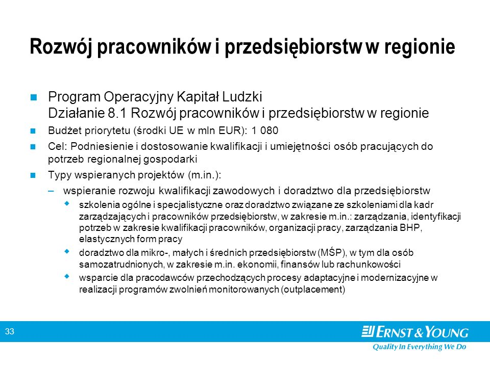 33 Rozwój pracowników i przedsiębiorstw w regionie Program Operacyjny Kapitał Ludzki Działanie 8.1 Rozwój pracowników i przedsiębiorstw w regionie Bud