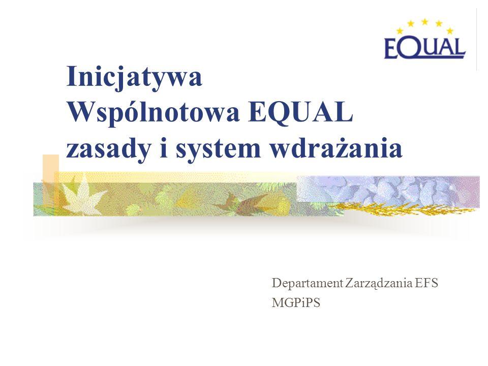 Inicjatywa Wspólnotowa EQUAL zasady i system wdrażania Departament Zarządzania EFS MGPiPS