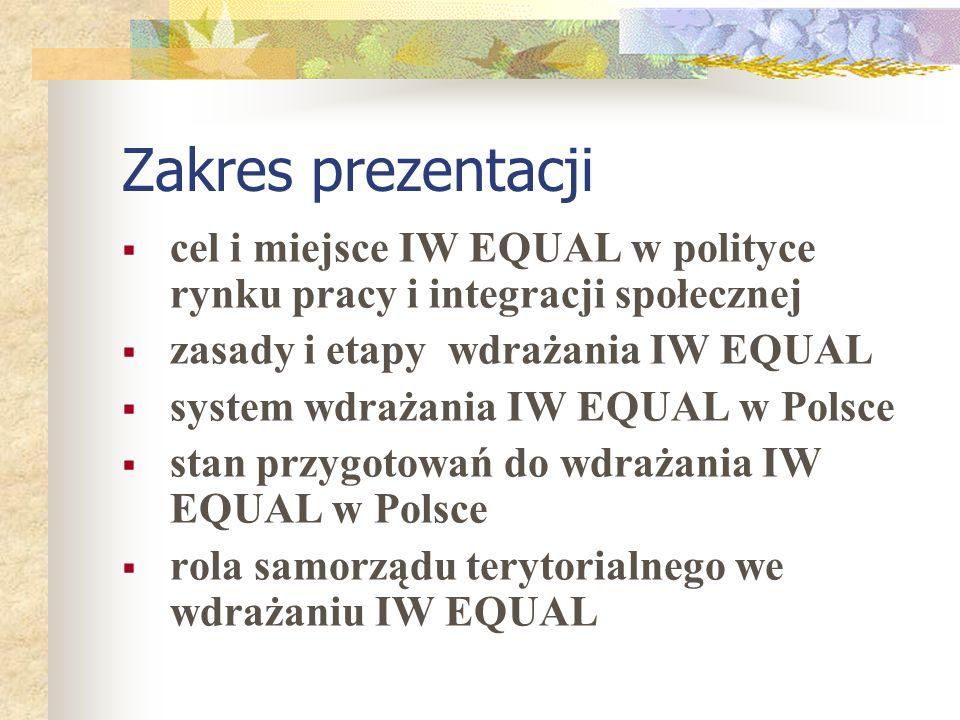 Zakres prezentacji cel i miejsce IW EQUAL w polityce rynku pracy i integracji społecznej zasady i etapy wdrażania IW EQUAL system wdrażania IW EQUAL w Polsce stan przygotowań do wdrażania IW EQUAL w Polsce rola samorządu terytorialnego we wdrażaniu IW EQUAL