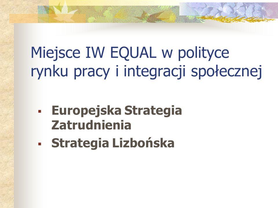 Miejsce IW EQUAL w polityce rynku pracy i integracji społecznej Europejska Strategia Zatrudnienia Strategia Lizbońska