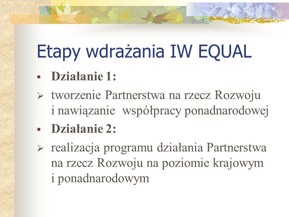 Etapy wdrażania IW EQUAL Działanie 1: tworzenie Partnerstwa na rzecz Rozwoju i nawiązanie współpracy ponadnarodowej Działanie 2: realizacja programu działania Partnerstwa na rzecz Rozwoju na poziomie krajowym i ponadnarodowym