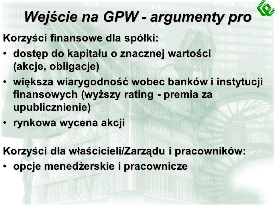 Wejście na GPW - argumenty pro Korzyści finansowe dla spółki: dostęp do kapitału o znacznej wartości (akcje, obligacje)dostęp do kapitału o znacznej wartości (akcje, obligacje) większa wiarygodność wobec banków i instytucji finansowych (wyższy rating - premia za upublicznienie)większa wiarygodność wobec banków i instytucji finansowych (wyższy rating - premia za upublicznienie) rynkowa wycena akcjirynkowa wycena akcji Korzyści dla właścicieli/Zarządu i pracowników: opcje menedżerskie i pracowniczeopcje menedżerskie i pracownicze