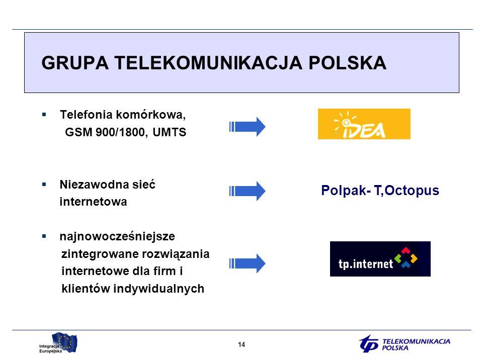14 GRUPA TELEKOMUNIKACJA POLSKA Telefonia komórkowa, GSM 900/1800, UMTS Niezawodna sieć internetowa najnowocześniejsze zintegrowane rozwiązania internetowe dla firm i klientów indywidualnych Polpak- T,Octopus