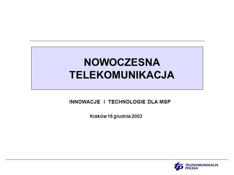 NOWOCZESNA TELEKOMUNIKACJA Kraków 16 grudnia 2003 INNOWACJE I TECHNOLOGIE DLA MSP