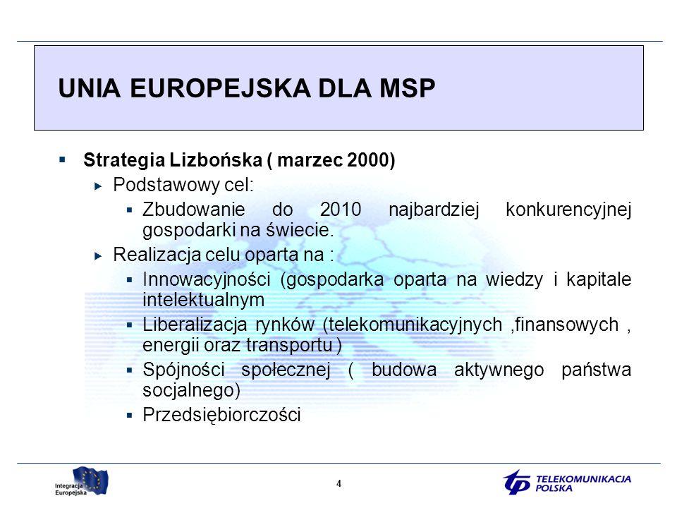 4 Strategia Lizbońska ( marzec 2000) Podstawowy cel: Zbudowanie do 2010 najbardziej konkurencyjnej gospodarki na świecie.