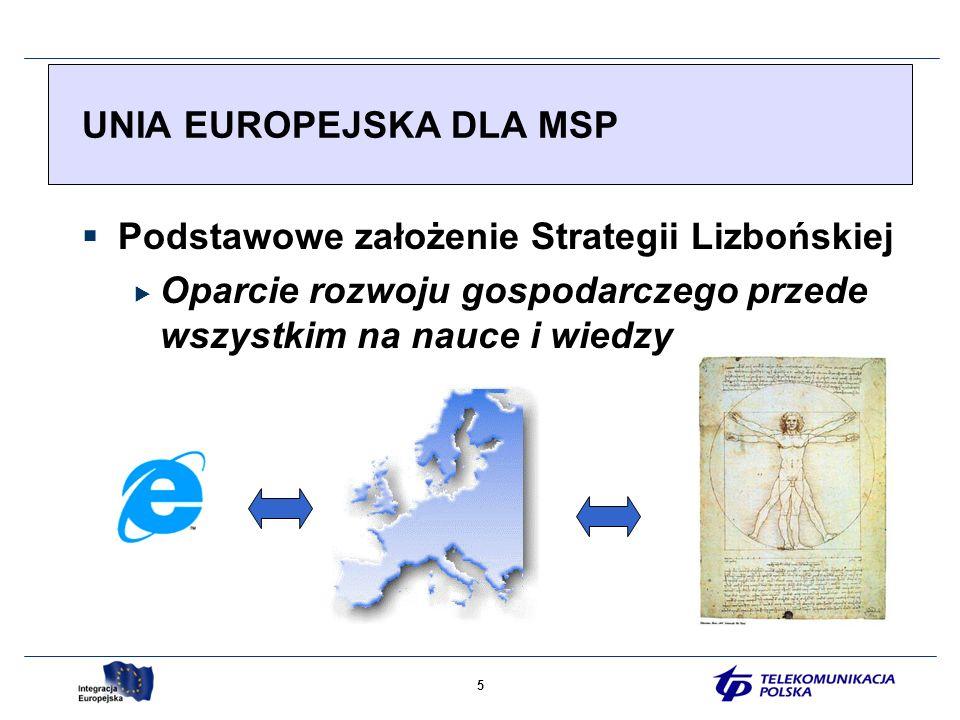 5 Podstawowe założenie Strategii Lizbońskiej Oparcie rozwoju gospodarczego przede wszystkim na nauce i wiedzy