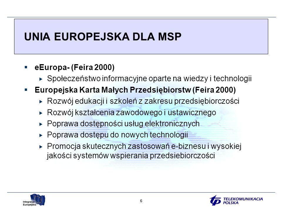 6 eEuropa- (Feira 2000) Społeczeństwo informacyjne oparte na wiedzy i technologii Europejska Karta Małych Przedsiębiorstw (Feira 2000) Rozwój edukacji i szkoleń z zakresu przedsiębiorczości Rozwój kształcenia zawodowego i ustawicznego Poprawa dostępności usług elektronicznych Poprawa dostępu do nowych technologii Promocja skutecznych zastosowań e-biznesu i wysokiej jakości systemów wspierania przedsiebiorczości UNIA EUROPEJSKA DLA MSP