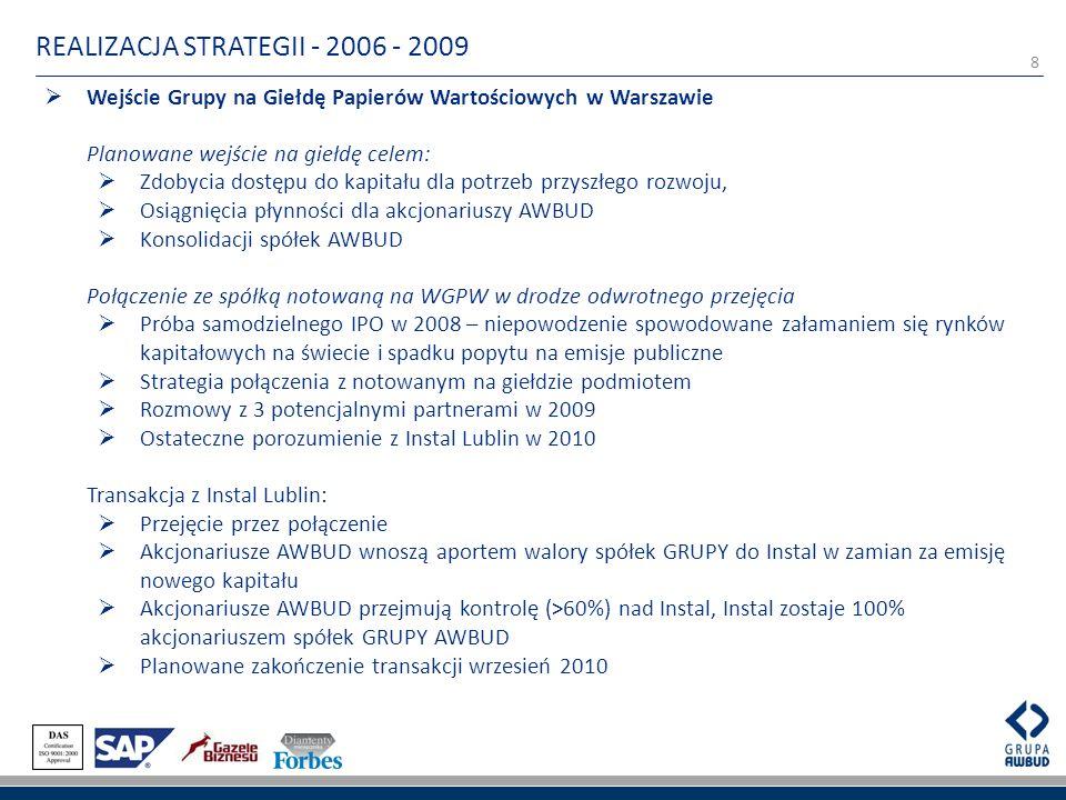 8 REALIZACJA STRATEGII - 2006 - 2009 Wejście Grupy na Giełdę Papierów Wartościowych w Warszawie Planowane wejście na giełdę celem: Zdobycia dostępu do kapitału dla potrzeb przyszłego rozwoju, Osiągnięcia płynności dla akcjonariuszy AWBUD Konsolidacji spółek AWBUD Połączenie ze spółką notowaną na WGPW w drodze odwrotnego przejęcia Próba samodzielnego IPO w 2008 – niepowodzenie spowodowane załamaniem się rynków kapitałowych na świecie i spadku popytu na emisje publiczne Strategia połączenia z notowanym na giełdzie podmiotem Rozmowy z 3 potencjalnymi partnerami w 2009 Ostateczne porozumienie z Instal Lublin w 2010 Transakcja z Instal Lublin: Przejęcie przez połączenie Akcjonariusze AWBUD wnoszą aportem walory spółek GRUPY do Instal w zamian za emisję nowego kapitału Akcjonariusze AWBUD przejmują kontrolę (>60%) nad Instal, Instal zostaje 100% akcjonariuszem spółek GRUPY AWBUD Planowane zakończenie transakcji wrzesień 2010