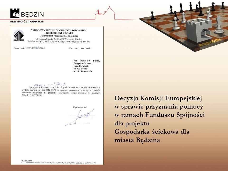Decyzja Komisji Europejskiej w sprawie przyznania pomocy w ramach Funduszu Spójności dla projektu Gospodarka ściekowa dla miasta Będzina