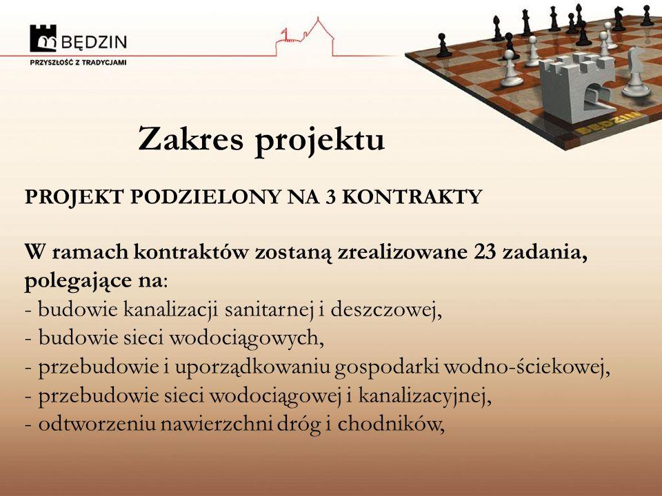 Zakres projektu PROJEKT PODZIELONY NA 3 KONTRAKTY W ramach kontraktów zostaną zrealizowane 23 zadania, polegające na: - budowie kanalizacji sanitarnej i deszczowej, - budowie sieci wodociągowych, - przebudowie i uporządkowaniu gospodarki wodno-ściekowej, - przebudowie sieci wodociągowej i kanalizacyjnej, - odtworzeniu nawierzchni dróg i chodników,