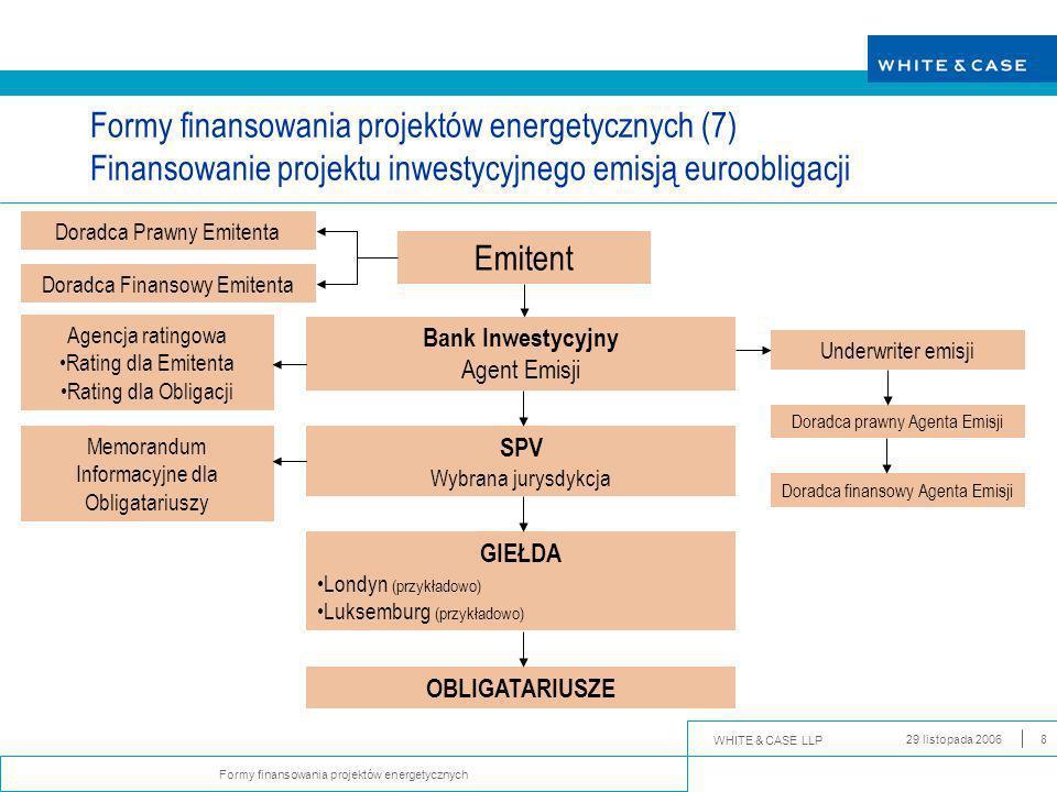 WHITE & CASE LLP Formy finansowania projektów energetycznych 29 listopada 20069 Worldwide.