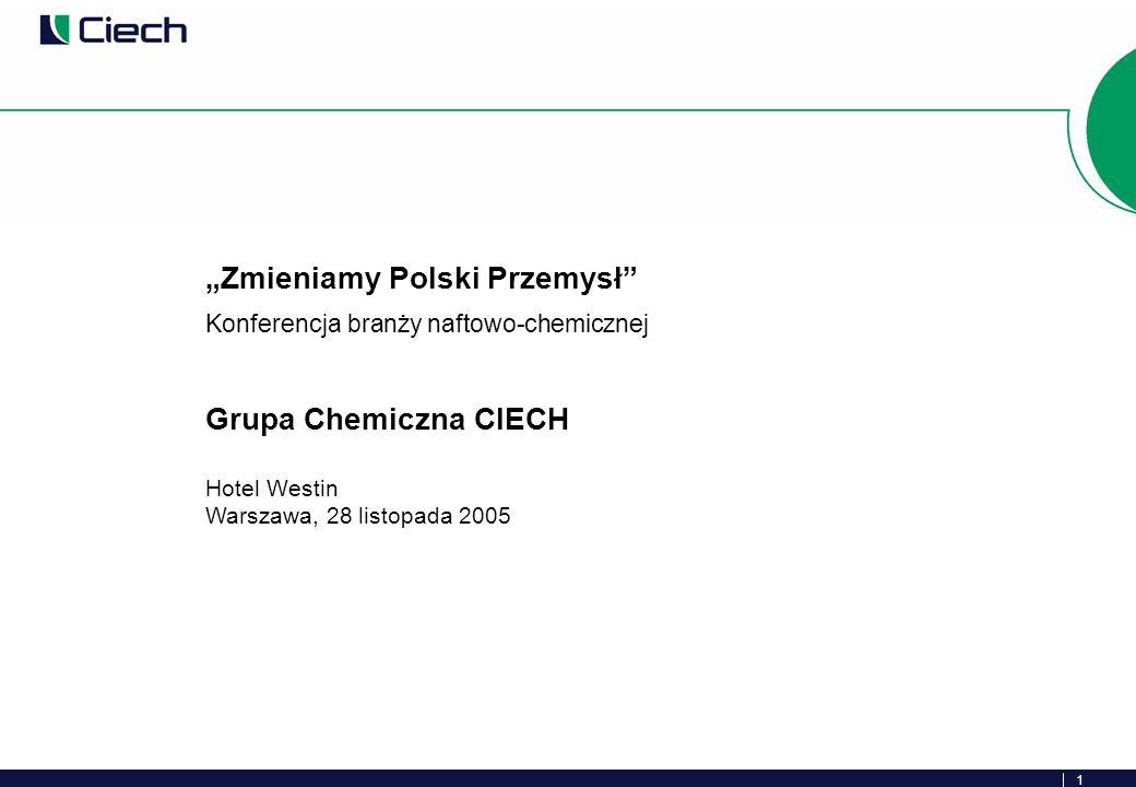 1 Zmieniamy Polski Przemysł Konferencja branży naftowo-chemicznej Grupa Chemiczna CIECH Hotel Westin Warszawa, 28 listopada 2005