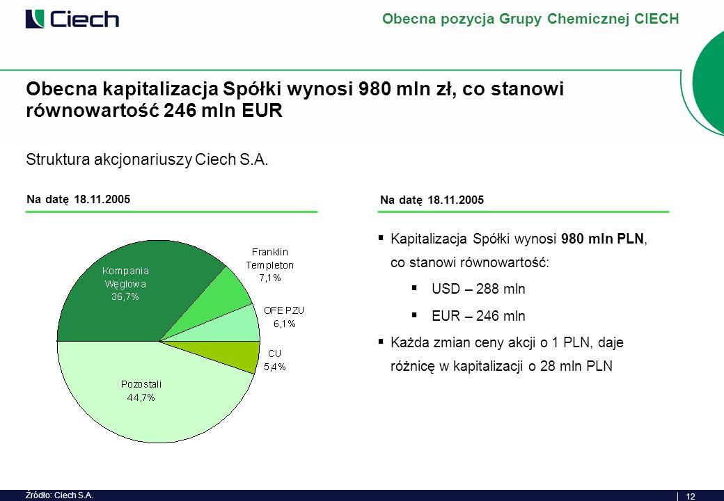 12 Kapitalizacja Spółki wynosi 980 mln PLN, co stanowi równowartość: USD – 288 mln EUR – 246 mln Każda zmian ceny akcji o 1 PLN, daje różnicę w kapitalizacji o 28 mln PLN Obecna kapitalizacja Spółki wynosi 980 mln zł, co stanowi równowartość 246 mln EUR Na datę 18.11.2005 Struktura akcjonariuszy Ciech S.A.
