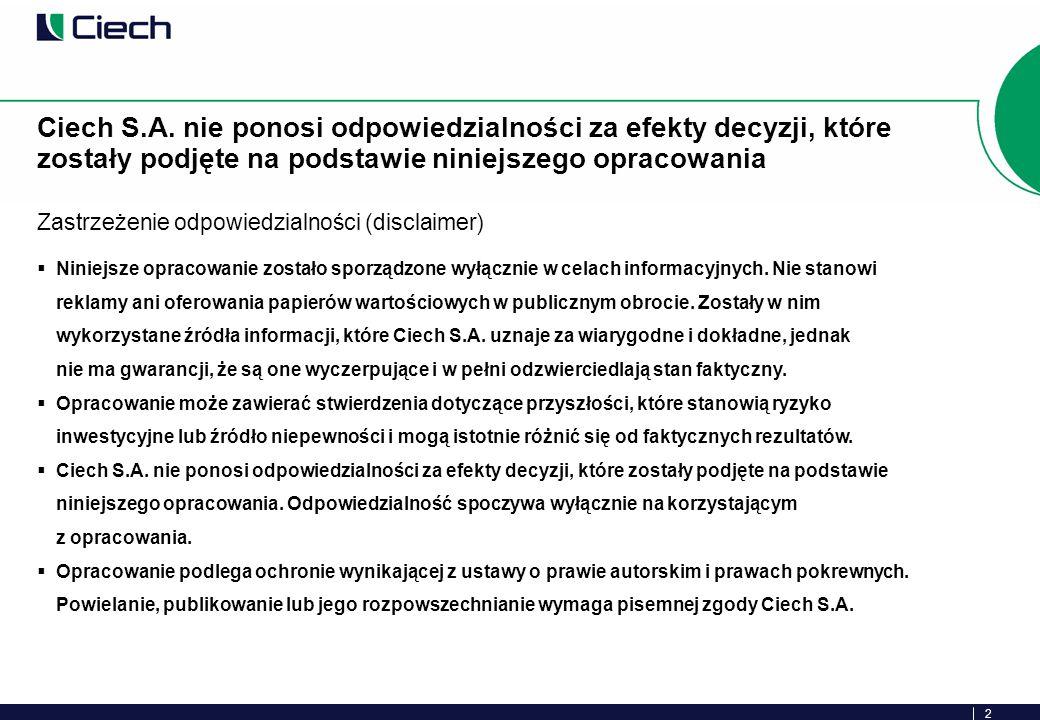 13 W stosunku do ceny emisyjnej (24 PLN), obecny kurs akcji Ciech S.A.