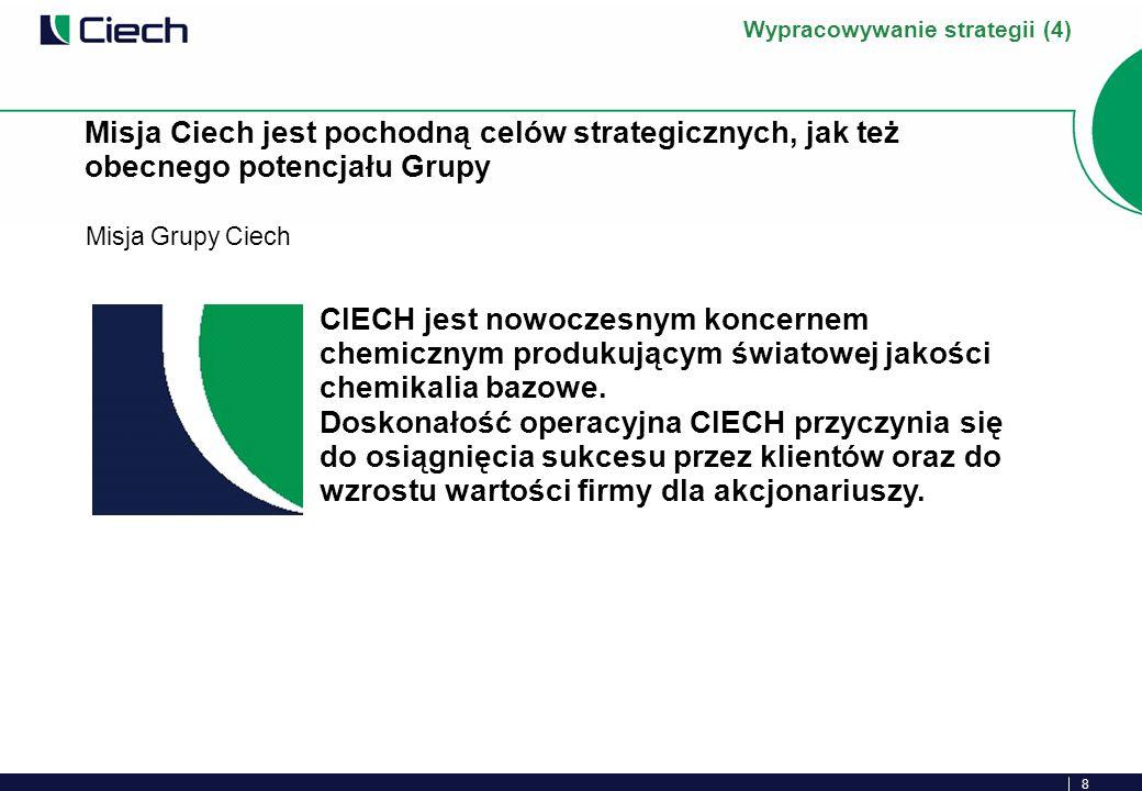 8 Misja Grupy Ciech Misja Ciech jest pochodną celów strategicznych, jak też obecnego potencjału Grupy Wypracowywanie strategii (4) CIECH jest nowoczesnym koncernem chemicznym produkującym światowej jakości chemikalia bazowe.
