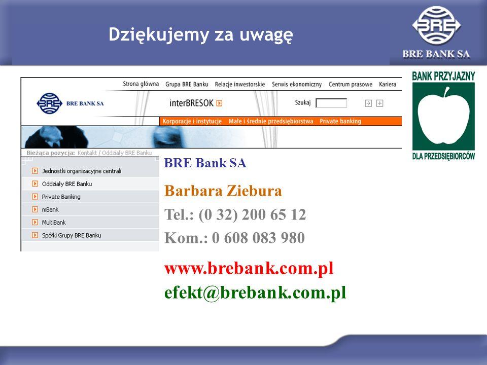 Dziękujemy za uwagę BRE Bank SA Barbara Ziebura Tel.: (0 32) 200 65 12 Kom.: 0 608 083 980 www.brebank.com.pl efekt@brebank.com.pl