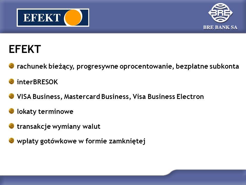 EFEKT Plus kredyt w rachunku bieżącym BRESOK Automatyczna Lokata Jednodniowa rachunek powierniczy usługi obrotu bonami skarbowymi i obligacjami Skarbu Państwa faktoring i leasing