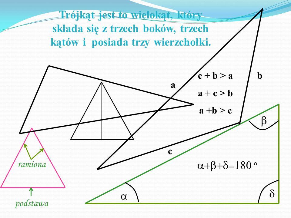 Trójkąt jest to wielokąt, który składa się z trzech boków, trzech kątów i posiada trzy wierzchołki. ramiona podstawa ° a b c c + b > a a + c > b a +b