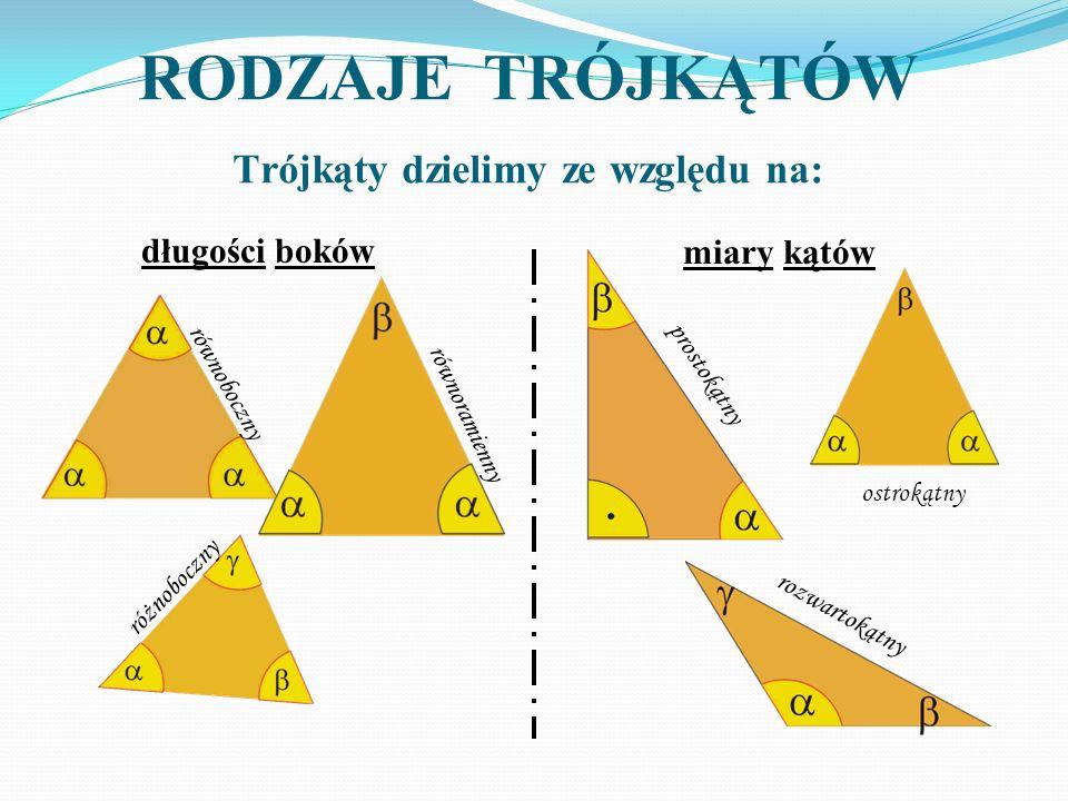RODZAJE TRÓJKĄTÓW Trójkąty dzielimy ze względu na: długości boków miary kątów równoboczny równoramienny różnoboczny prostokątny ostrokątny rozwartokąt