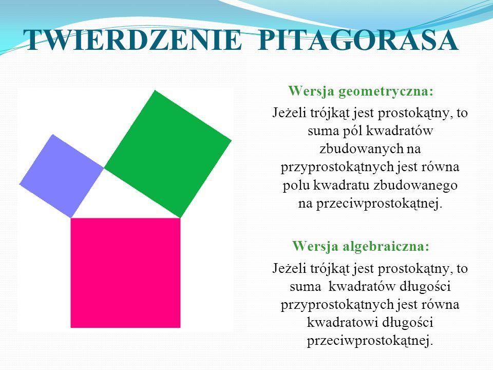 Wersja geometryczna: Jeżeli trójkąt jest prostokątny, to suma pól kwadratów zbudowanych na przyprostokątnych jest równa polu kwadratu zbudowanego na p