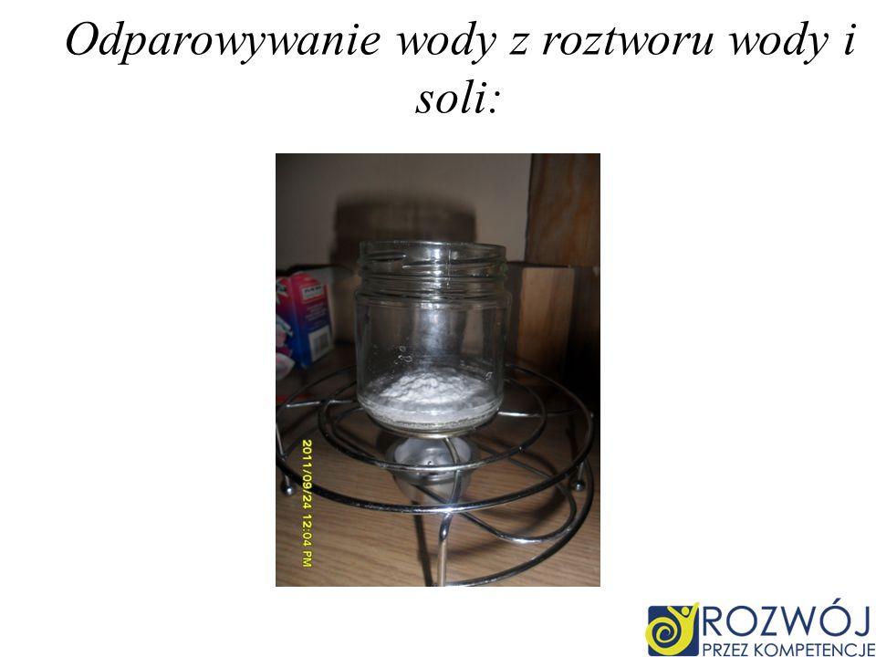 Odparowywanie wody z roztworu wody i soli: