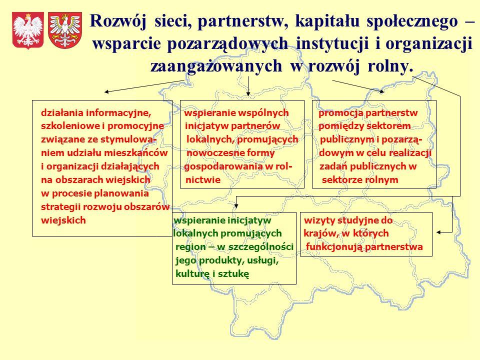Rozwój sieci, partnerstw, kapitału społecznego – wsparcie pozarządowych instytucji i organizacji zaangażowanych w rozwój rolny.