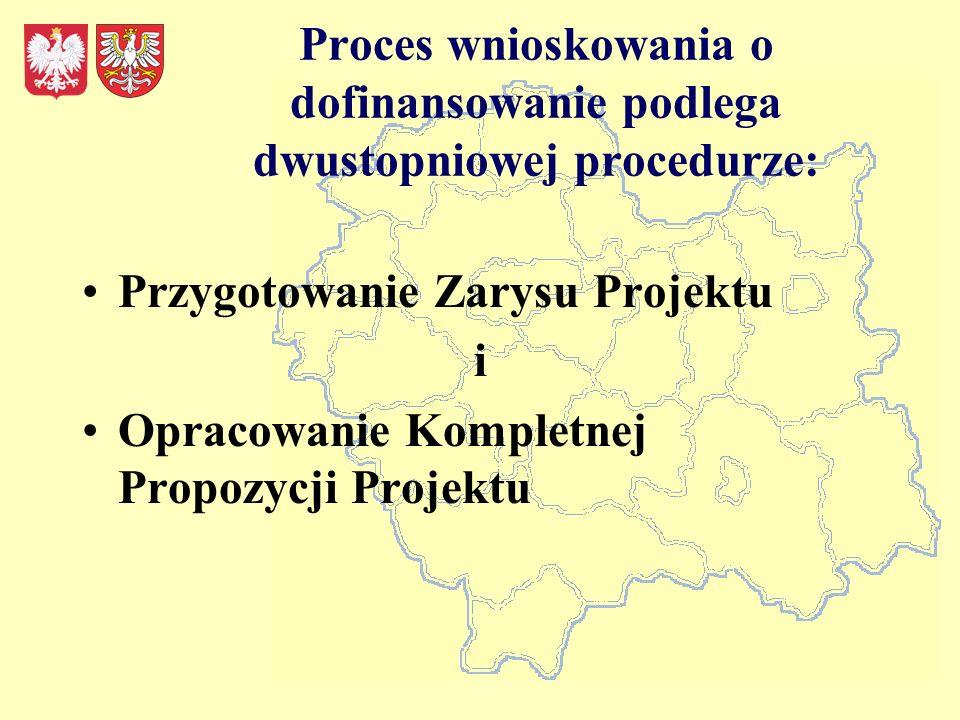 Proces wnioskowania o dofinansowanie podlega dwustopniowej procedurze: Przygotowanie Zarysu Projektu i Opracowanie Kompletnej Propozycji Projektu
