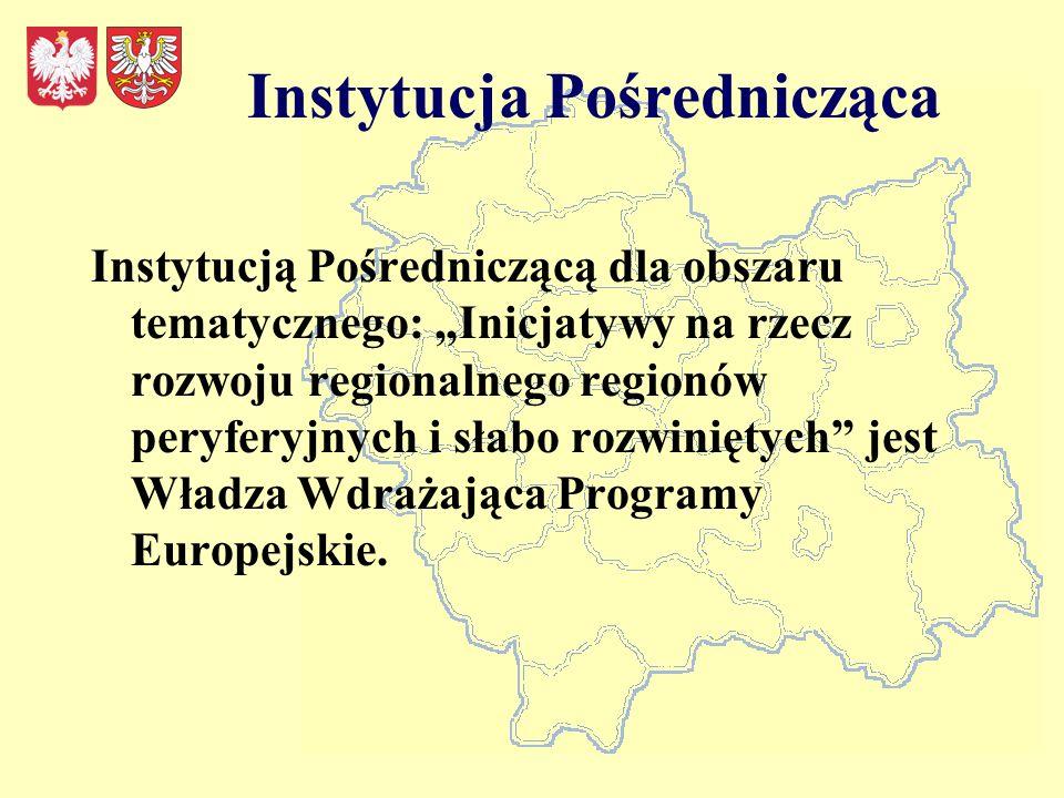 Instytucja Pośrednicząca Instytucją Pośredniczącą dla obszaru tematycznego: Inicjatywy na rzecz rozwoju regionalnego regionów peryferyjnych i słabo rozwiniętych jest Władza Wdrażająca Programy Europejskie.