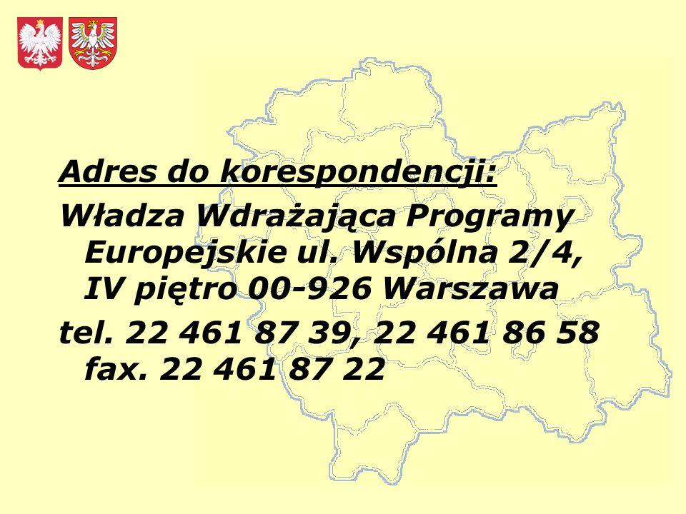 Adres do korespondencji: Władza Wdrażająca Programy Europejskie ul.