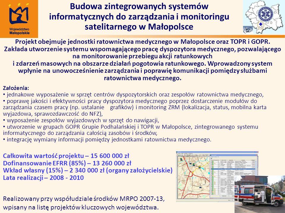 Budowa zintegrowanych systemów informatycznych do zarządzania i monitoringu satelitarnego w Małopolsce Realizowany przy współudziale środków MRPO 2007-13, wpisany na listę projektów kluczowych województwa.