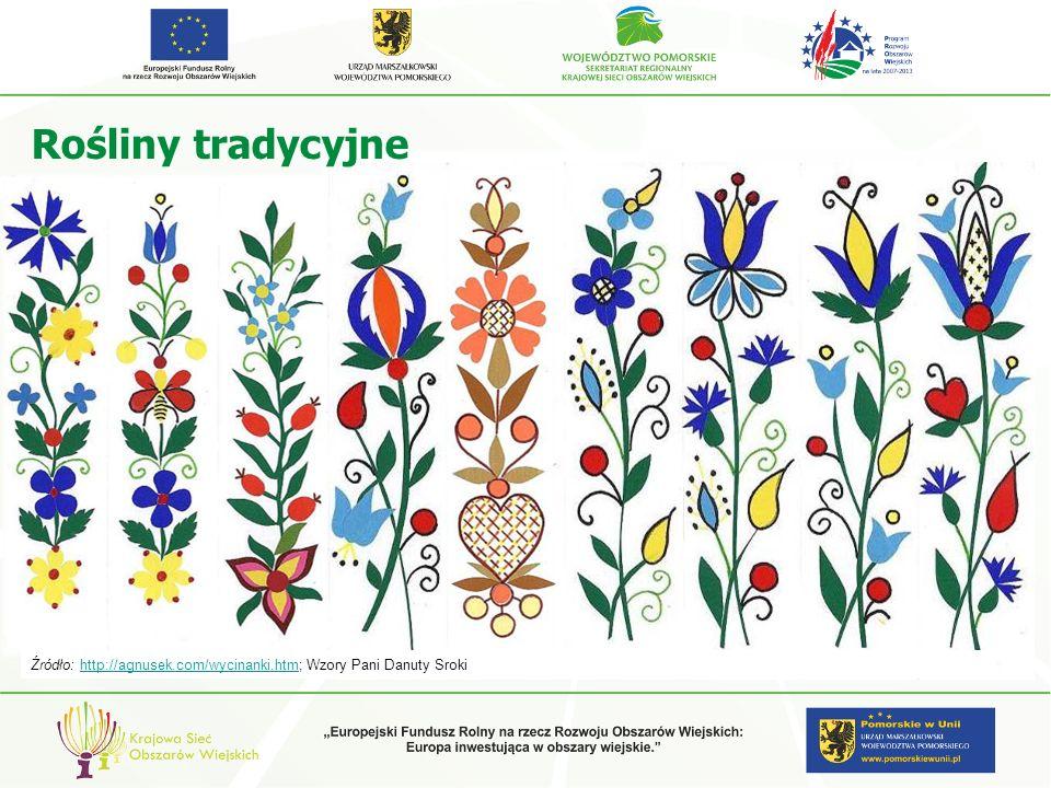 Rośliny tradycyjne Źródło: http://agnusek.com/wycinanki.htm; Wzory Pani Danuty Srokihttp://agnusek.com/wycinanki.htm