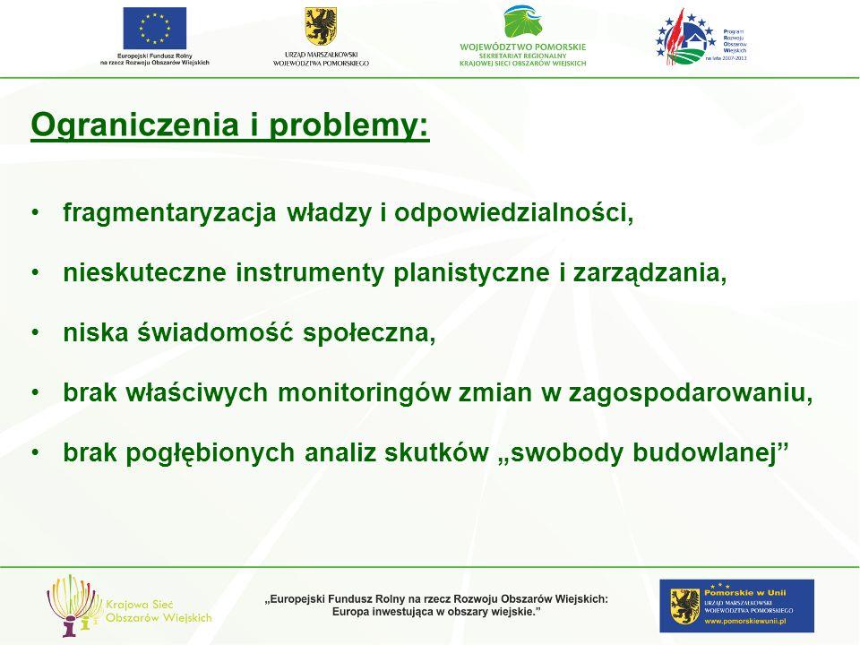 Ograniczenia i problemy: fragmentaryzacja władzy i odpowiedzialności, nieskuteczne instrumenty planistyczne i zarządzania, niska świadomość społeczna,